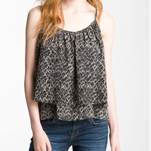 Joie 100% Silk Elijah Layered Tank Feather Print s